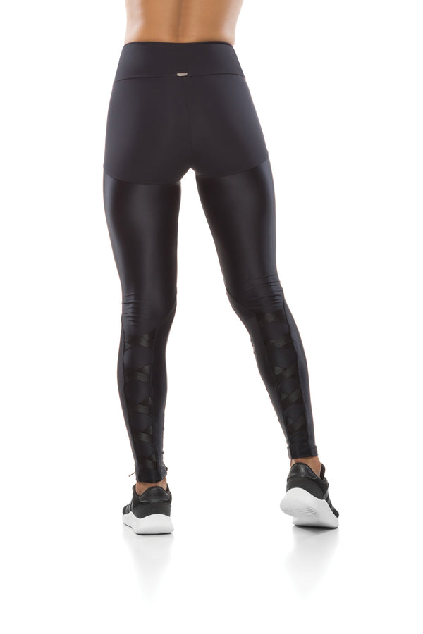 BLACK WAISTBAND LACE UP LEGGING