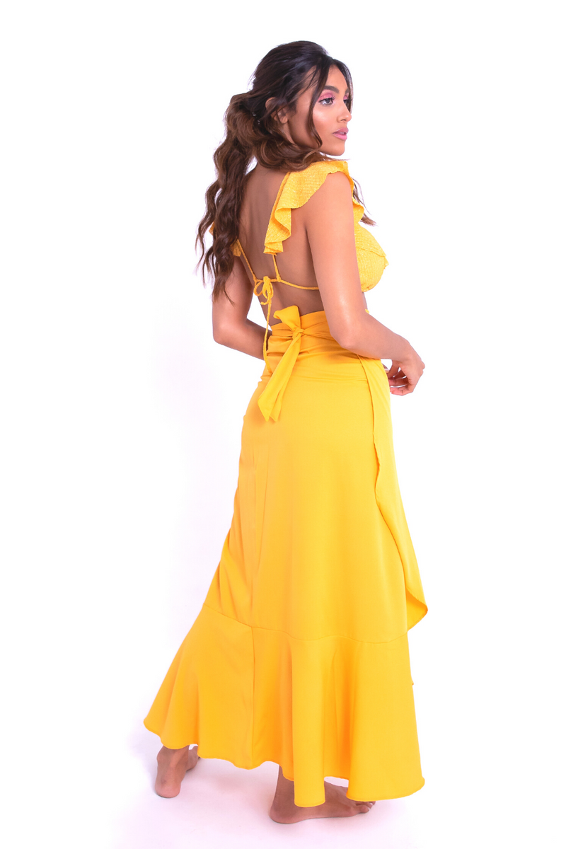 YELLOW MAXI WRAP SKIRT