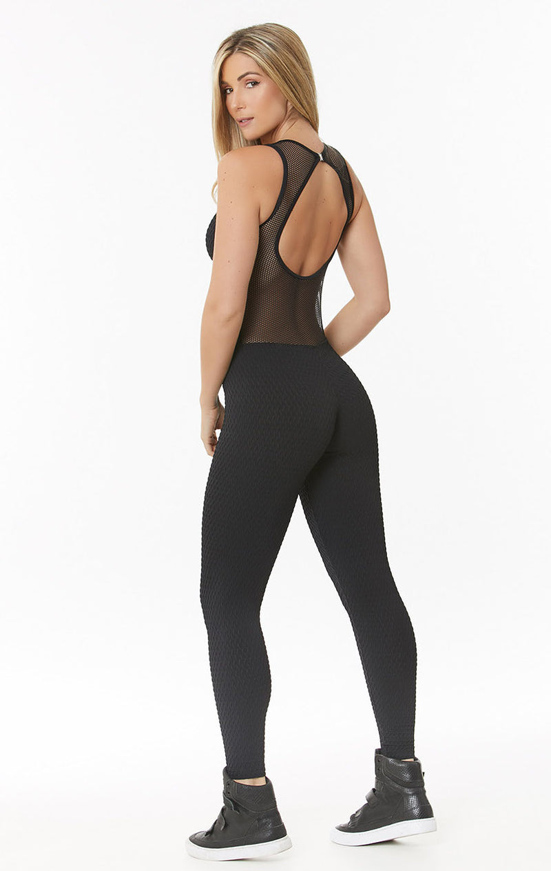 black workout jumpsuit