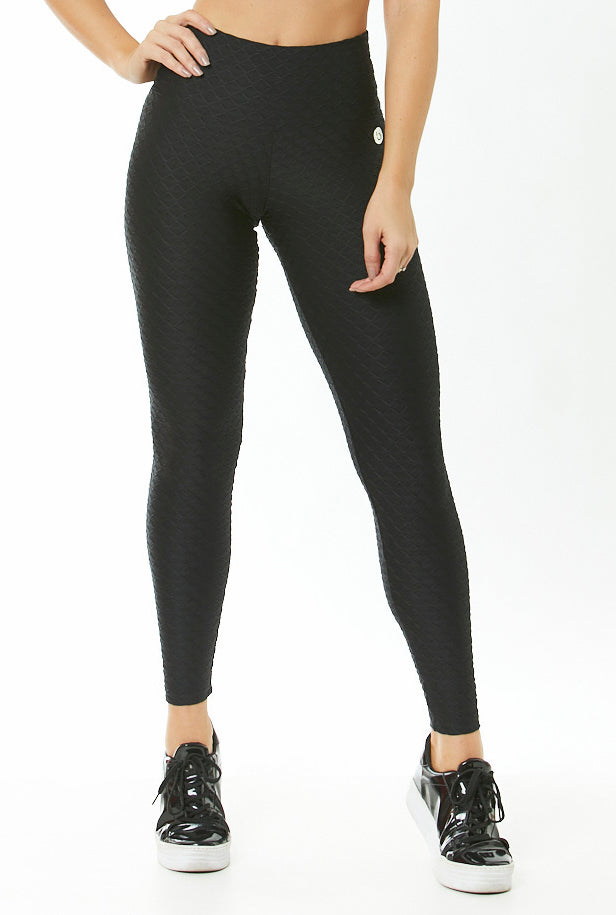 BLACK TEXTURED LEGGINGS - GLOW