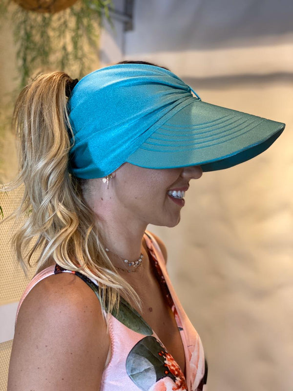 LIGHT BLUE VISOR SUMMER HAT