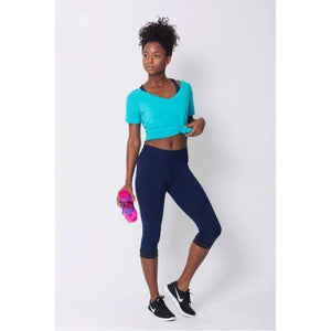 Navy Compression Capri