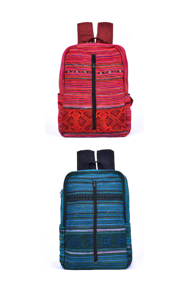 Backpack with Zipper up Front Panel and Traditional Brocade Pattern