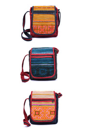 Hemp Satchel Bag with Lid and Traditional Brocade Pattern