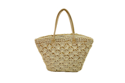 Seagrass Basket With Leather Straps And Big Flower