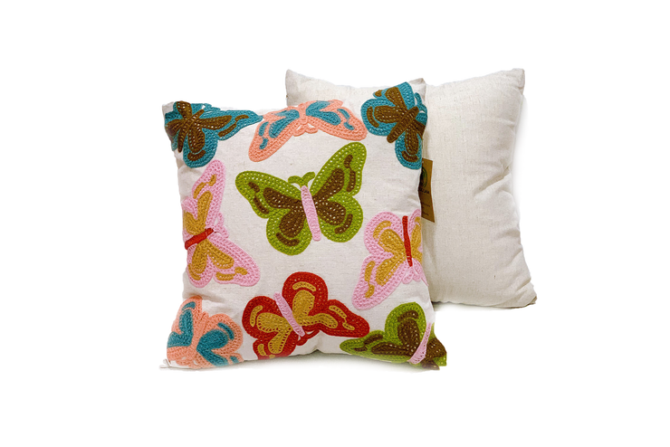 Square Linen Pillowcase  45X45 cm With Hand-Sewn Butterfly Patterns