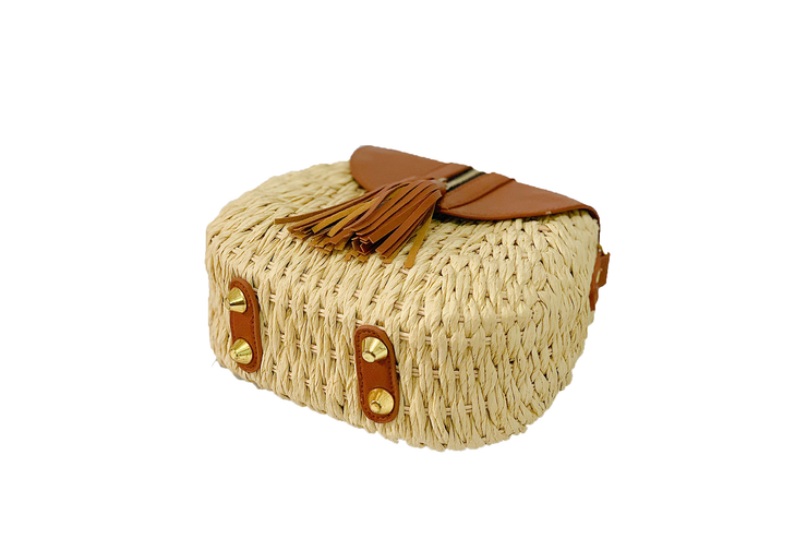 Seagrass Polti Bag With Leather Straps, Leather Lid, and Zippered Tassel