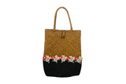 Flat Glossy Long Bamboo Bag With Round Hemp Cloth Base And Linen Flower