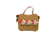 Rectangle Seagrass Bag With Leather Hand Straps And Attached Flowers Lid