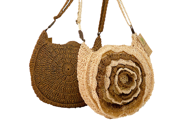 Seagrass Bag With Big Layered Flower And Long Shoulder Straps