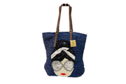 Seagrass Tote Bag With Real Leather Straps and Beaded Pattern