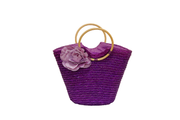 Seagrass Basket Bag With Linen Flower And Round Straps