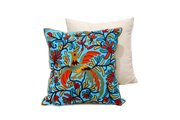 Square Linen Pillowcase 45X45 cm With Hand-Sewn Bird Patterns