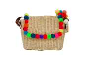 Rectangle Seagrass Bag With Color Balls On Leather Lid And Leather Shoulder Straps