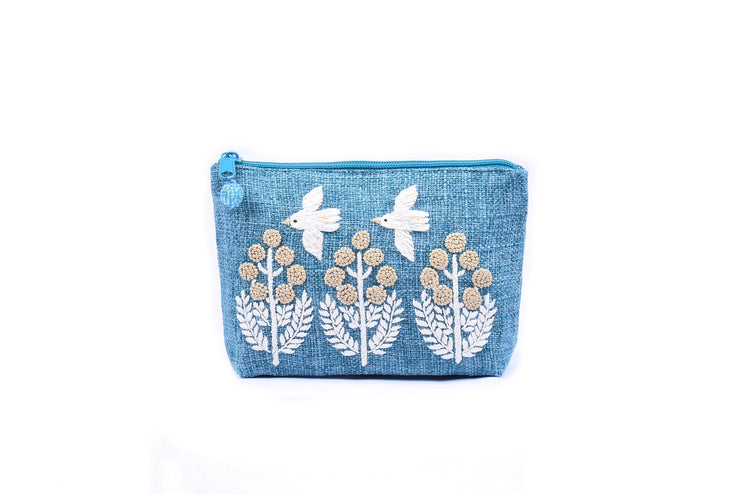 "Trapezoid Hemp Purse With Hand-Sewn Glass Beads ""Birds and Trees"" Patterns"