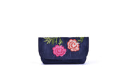 Rectangular Taffeta Purse with Hand-sewn Glass Bead Rose Patterns on Lid