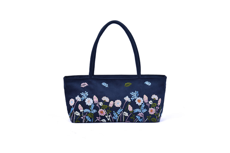 Suede Handbag with Hand-sewn Glass Bead Flowers and Grass Patterns