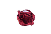 Large Taffeta Handbag with Hand-sewn Glass Bead Rose Patterns