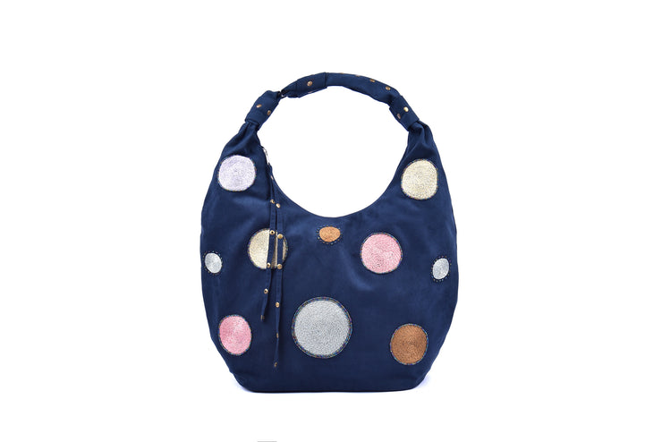Suede Handbag with Hand-sewn Glass Bead Circular Patterns