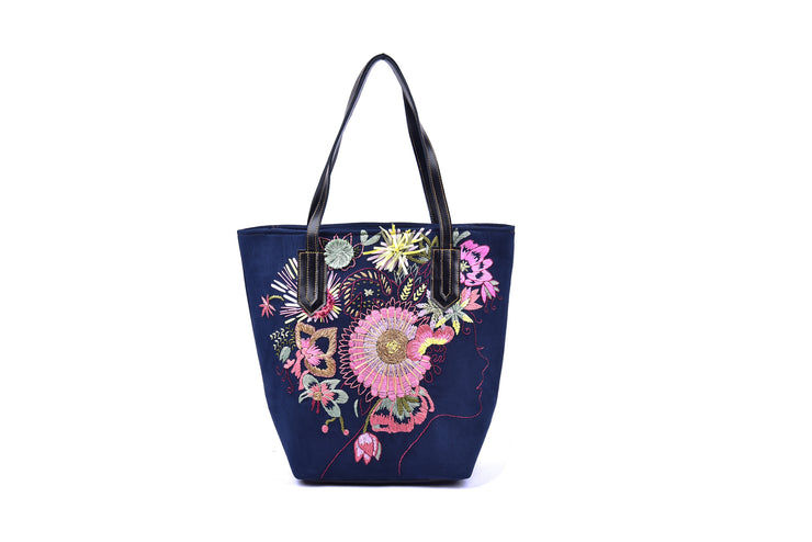 Large Suede Handbag with Square Bottom and Hand-sewn Flowers Pattern