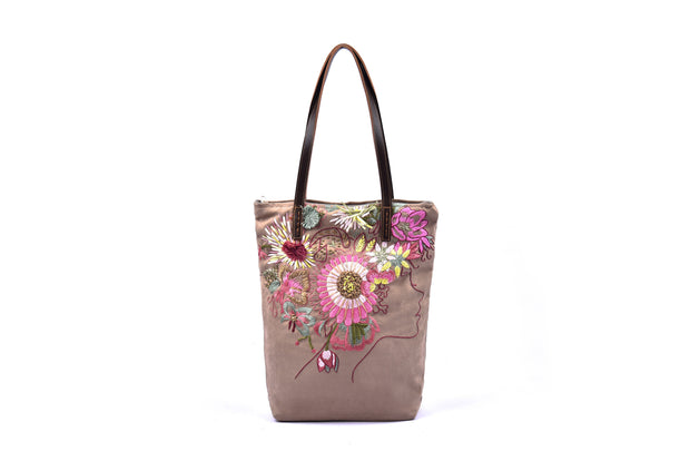 Tall Rectangular Suede Handbag with Hand-sewn Flowers Patterns