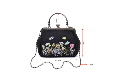 "Hemp Bag With Copper Binding, Straight Hand Strap, Sequin And Glass Bead ""Flowers And Grass"" Patterns Embroidery, Chain Shoulder Strap"
