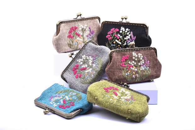"Small Hemp Purse With Copper Binding And Mixed ""Chrysanthemum + Violet Bush""  Embroidery"