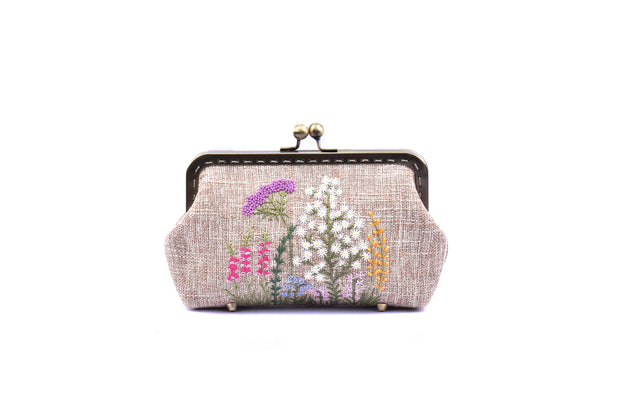 "Small Hemp Purse With Copper Binding And Mixed ""Chrysanthemum + Chinese Honeysuckle Bush""  Embroidery"