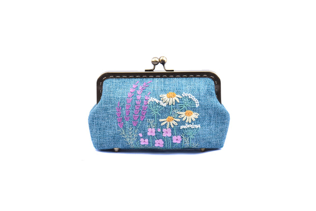 "Big Hemp Purse With Copper Binding,  ""Big Chrysanthemum Flower Bush"" Embroidery With Sequin And Glass Bead Pistils"