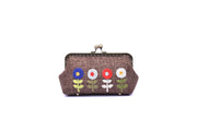 "Big Hemp Purse With Copper Binding, Sequin And Glass Bead ""4 Flowers""  Embroidery"