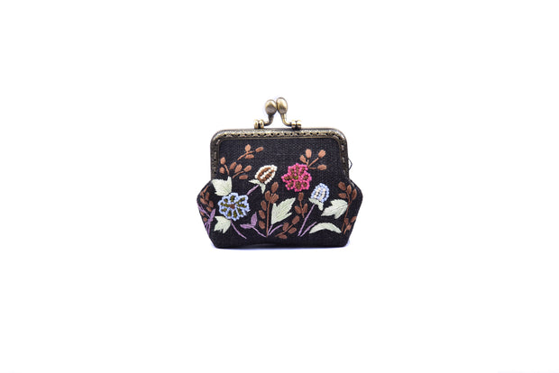 "Hemp Purse With Copper Binding, Sequin And Glass Bead ""Flowers And Grass"" Patterns Embroidery, Big Press Lock"