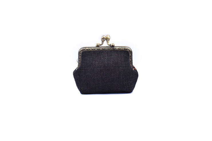Small Hemp Purse with Hand-sewn Pattern