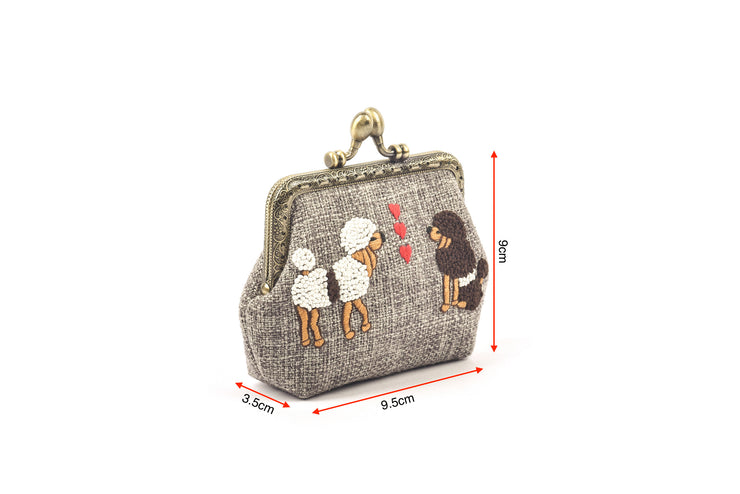 Hemp Coin Purse with Hand-sewn Poodles Pattern