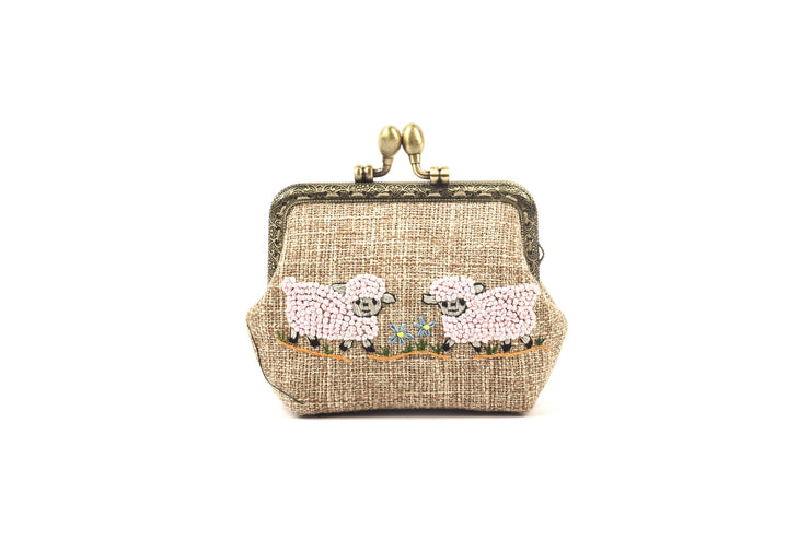 Hemp Coin Purse with Hand-sewn Lambs Pattern