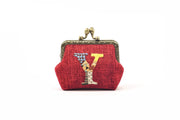 Hemp Coin Purse with Hand-sewn Letter Pattern