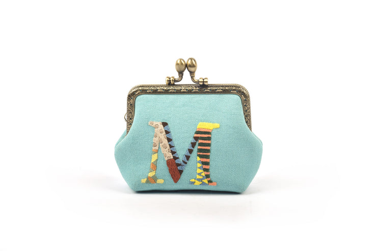 Canvas Coin Purse with Hand-sewn Letter Pattern