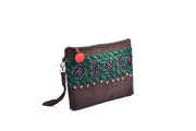 Rectangular Flat Suede Purse with Traditional Brocade Pattern