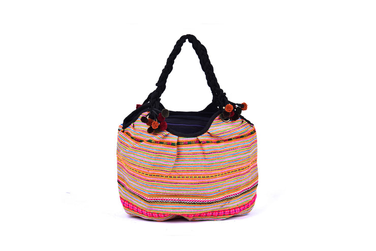 Large Handbag with Braided Straps and Traditional Brocade Patterns