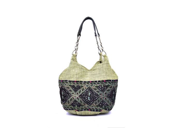 Hemp Handbag with Hmong Brocade Pattern