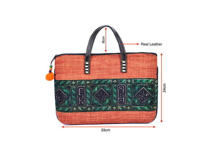Hemp Flat Bag with Hmong Brocade Pattern
