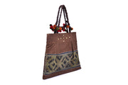 Suede Flat Bucket-shaped Bag with Hmong Brocade Pattern