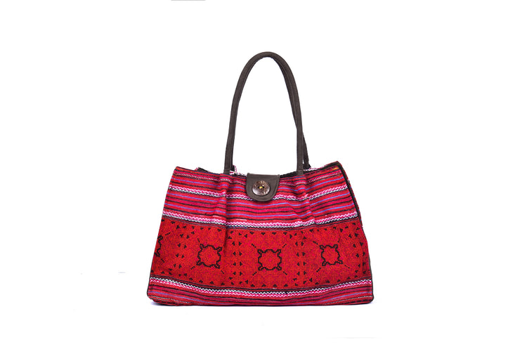 Trapezium Suede Bag with Coconut Button Buckle and Traditional Brocade Patterns