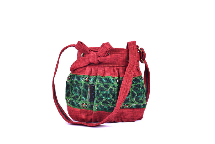 Hemp Sling Bag with Hmong Brocade Pattern