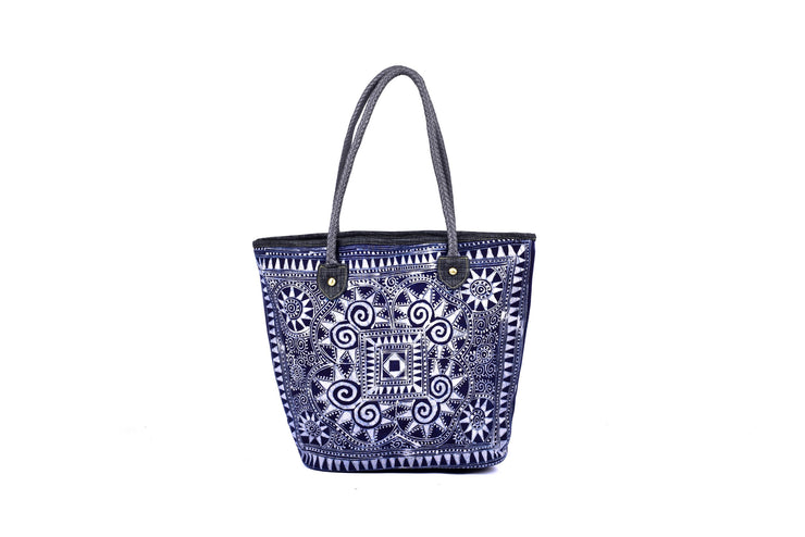 Satchel Bag with Traditional Hand Drawn Batik Pattern