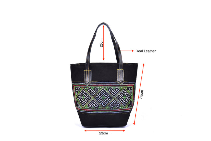Suede Handbag with Hmong Brocade Pattern - Leather Straps and Bottom