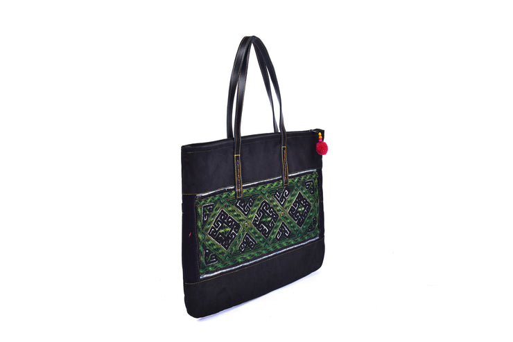 Suede Flat Bag with Hmong Brocade Pattern - Leather Straps