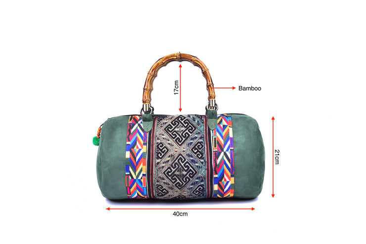 Suede Bag with Hmong Brocade Pattern - Bamboo Straps