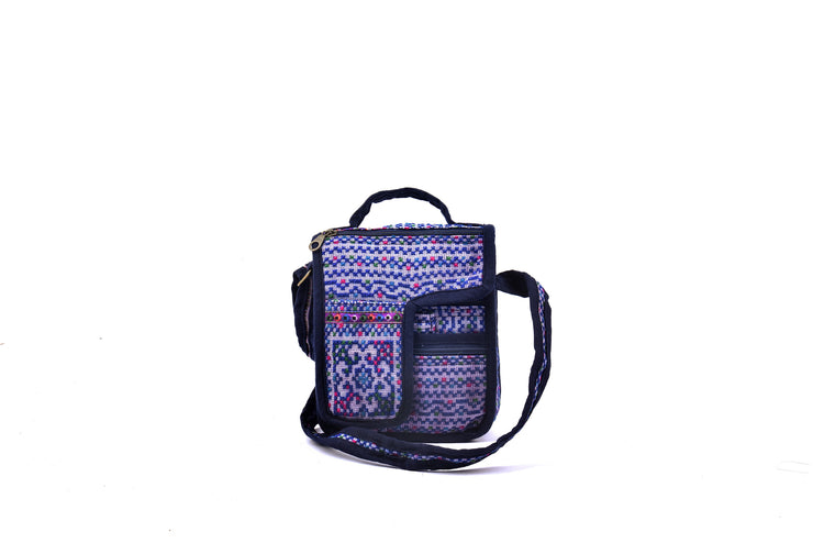 Rectangular Linen Satchel Bag with Traditional Brocade Patterns