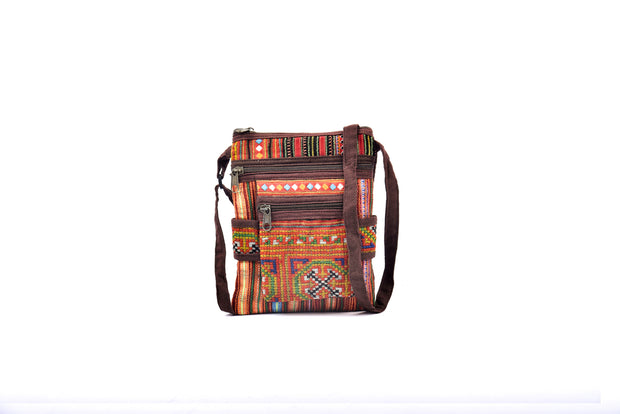 Flat Linen Satchel Bag with Front Compartment and Traditional Brocade Patterns