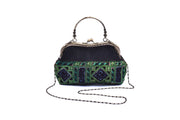 Large Suede Purse with Traditional Brocade Pattern